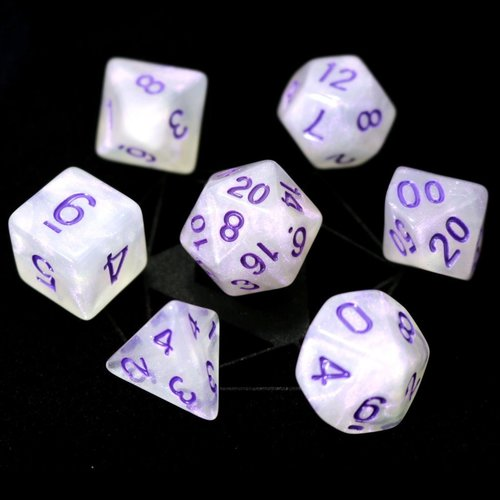 Die Hard Dice GLIMMER DICE SET 7 PURPLE MOONSTONE