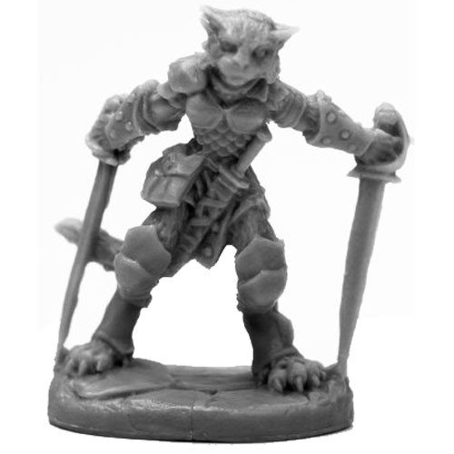 Reaper Miniatures BONES BLACK: CATFOLK ROGUE