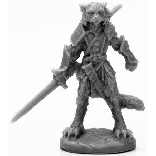 Reaper Miniatures BONES BLACK: CATFOLK WARRIOR