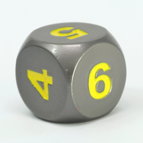 Die Hard Dice METAL DICE D6 GUNMETAL YELLOW