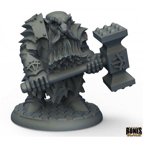 Reaper Miniatures BONES BLACK: DARK DWARF POUNDER