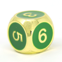 METAL DICE D6 GREEN GOLD