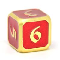 GEM DICE D6 RUBY GOLD