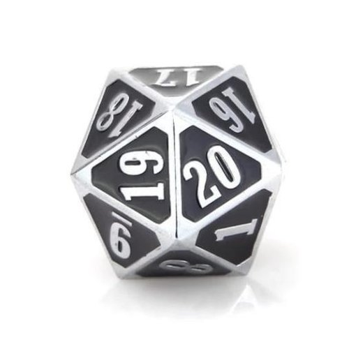 Die Hard Dice MTG D20 SPINDOWN SHINY SILVER WITH BLACK