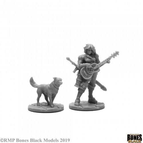 Reaper Miniatures BONES BLACK: ISOBAEL THE BARD & RUFUS