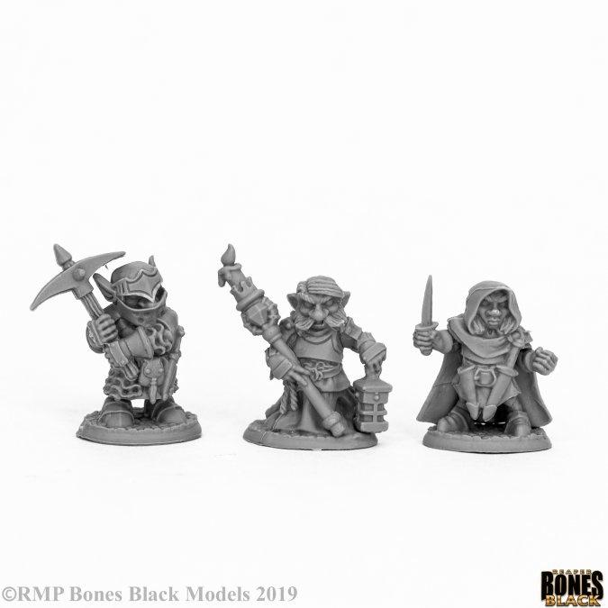 Reaper Miniatures BONES BLACK: DEEP GNOME WARRIORS