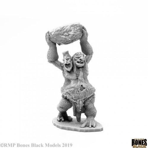 Reaper Miniatures BONES BLACK: TWO HEADED TROLL