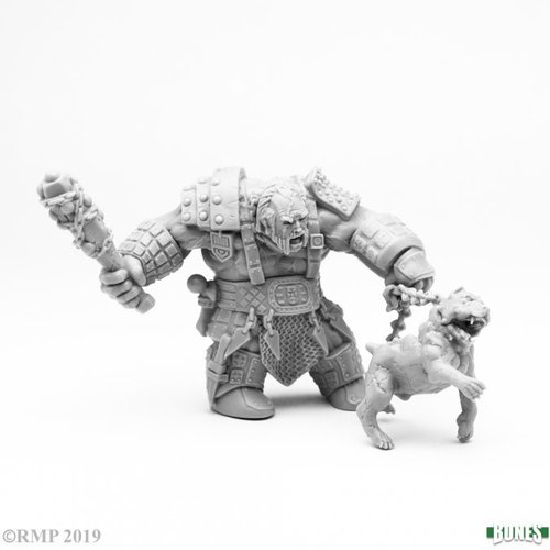Reaper Miniatures BONES: FIRE GIANT HUNTSMAN w/ HELL HOUND