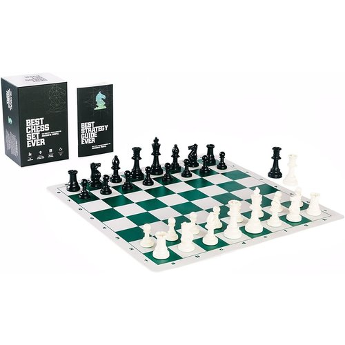 Best Chess Set Ever BEST CHESS SET EVER - Triple-Weighted Pieces, Green Silicone Board