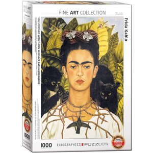 EUROGRAPHICS EG1000 KAHLO - SELF PORTRAIT WITH THORN NECKLACE AND HUMMINGBIRD