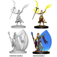 MINIS: D&D: ELF FEMALE WIZARD (DUAL STAFF & SPELL SHIELD)