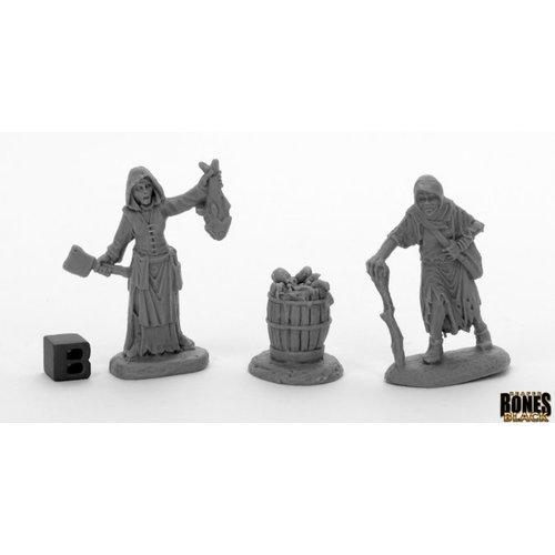 Reaper Miniatures BONES BLACK: DREADMERE TOWNSFOLK - FISHWIFE & CRONE (2)