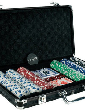 CHH QUALITY PRODUCTS POKER CHIP SET 300 11G w/DICE PRINT in BLACK CASE