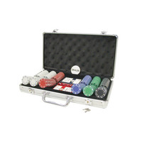 POKER CHIP SET 300 11G w/SUITED PRINT in ALUMINUM CASE