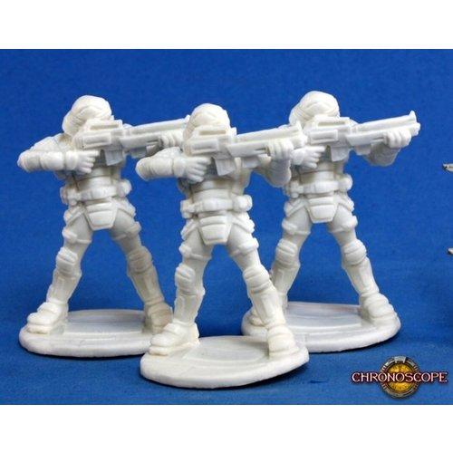 Reaper Miniatures BONES: CHRONOSCOPE: NOVA CORP GUARD (3)