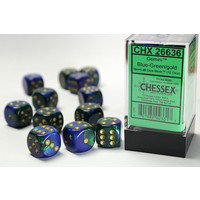 DICE SET 16mm GEMINI BLUE-GREEN