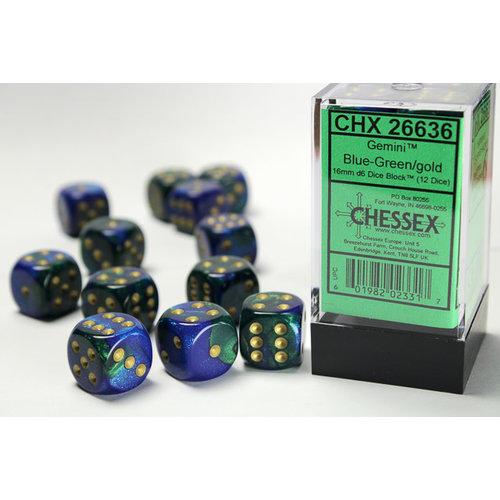 Chessex DICE SET 16mm GEMINI BLUE-GREEN