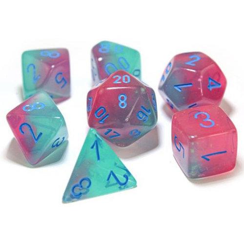 Chessex LAB DICE SET 7 GEMINI: LUMINARY GREEN / PINK / BLUE