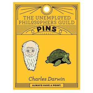 UNEMPLOYED PHILOSOPHERS PIN: CHARLES DARWIN & TORTOISE SET