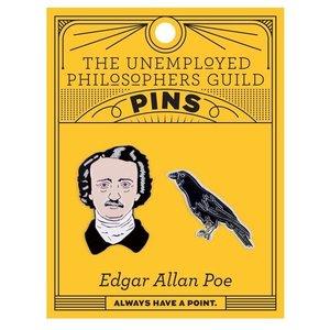 UNEMPLOYED PHILOSOPHERS PIN: EDGAR ALLEN POE & RAVEN SET
