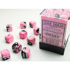 Chessex DICE SET 12mm GEMINI BLK-PINK
