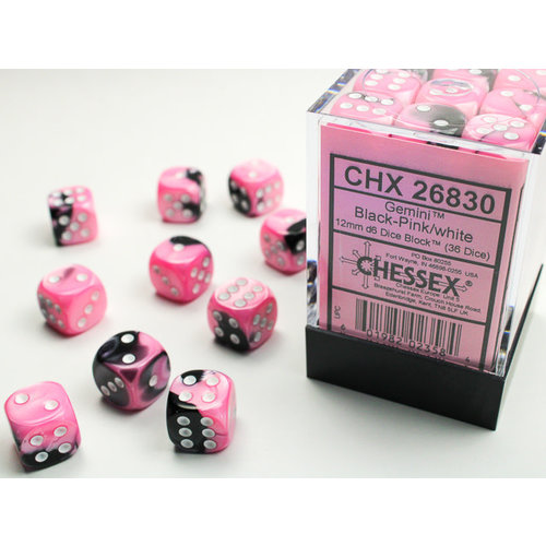 Chessex DICE SET 12mm GEMINI BLACK-PINK/WHITE