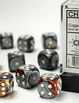 Chessex DICE SET 16mm GEMINI COP-STEEL