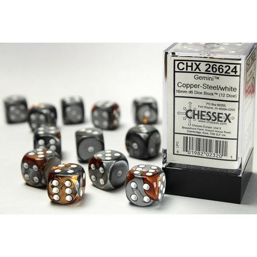 Chessex DICE SET 16mm GEMINI COPPER-STEEL