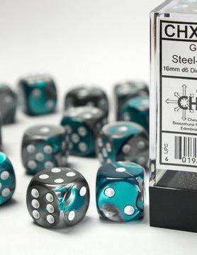 Chessex DICE SET 16mm GEMINI STEEL-TEAL