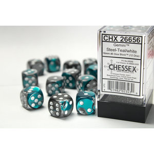 Chessex DICE SET 16mm GEMINI STEEL-TEAL