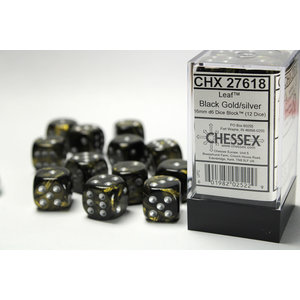 Chessex DICE SET 16mm LEAF BLACK GOLD