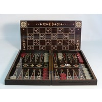 "BACKGAMMON 15"" FLOWERED DECOUPAGE WALNUT"