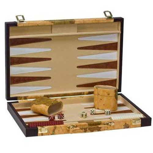 "CHH QUALITY PRODUCTS BACKGAMMON 15"" BROWN MAP"