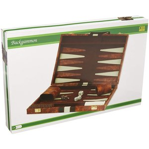 """CHH QUALITY PRODUCTS BACKGAMMON 15"""" BROWN & WHITE"""
