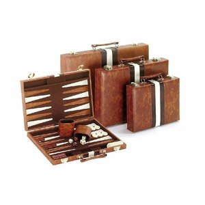 "CHH QUALITY PRODUCTS BACKGAMMON 11"" BROWN & WHITE"