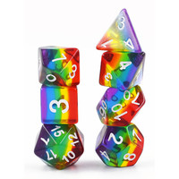 DICE SET 7 TRANSLUCENT LAYERED RAINBOW