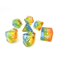 DICE SET 7 TRANSLUCENT LAYERED YELLOW AURORA