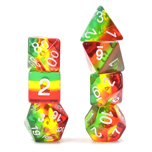 HD Dice DICE SET 7 TRANSLUCENT LAYERED RED-YELLOW-GREEN