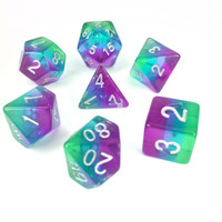 DICE SET 7 TRANSLUCENT LAYERED BLUE AURORA