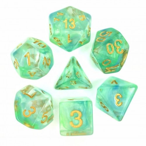 HD Dice DICE SET 7 TRANSLUCENT PEARL SWIRL BLUE & GREEN
