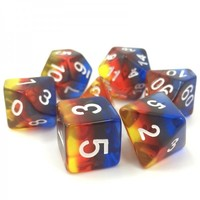 DICE SET 7 TRANSLUCENT LAYERED BURNING CLOUD