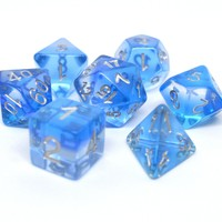 DICE SET 7 TRANSLUCENT LAYERED BLUE GRADIENT