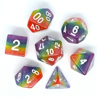 DICE SET 7 OPAQUE LAYERED RAINBOW