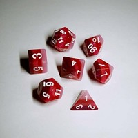 DICE SET 7 OPAQUE LAYERED RED GRADIENT