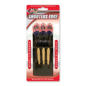 DART WORLD SHOOTERS EDGE BRASS/STEEL-TIP DARTS 18G