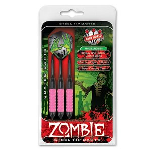 DART WORLD ZOMBIE PINK COATED STEEL-TIP DARTS 22G