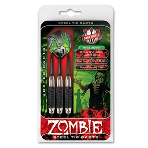 DART WORLD ZOMBIE BLACK COATED STEEL-TIP DARTS 22G