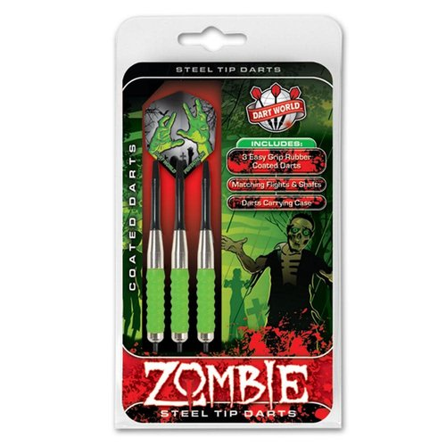 DART WORLD ZOMBIE GREEN COATED STEEL-TIP DARTS 23G