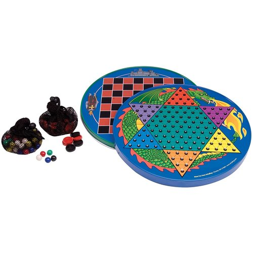 JOHN HANSEN COMPANY CHINESE CHECKERS & TRADITIONAL CHECKERS TIN