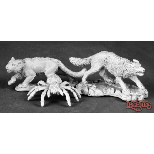 Reaper Miniatures DARK HEAVEN LEGENDS: ANIMAL COMPANIONS 2: WOLF, CAT, SPIDER